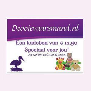 Kadobon van 12,50 euro voor een kraamkado