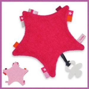 funnies label speendoek ster fuchsia licht roze