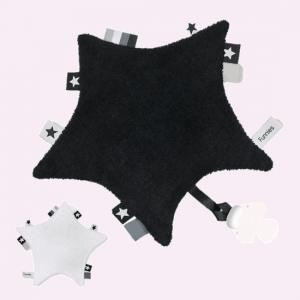 funnies label speendoek ster zwart en wit