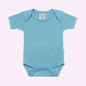 Baby rompertje licht blauw met korte mouwen