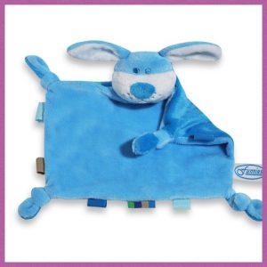Knuffeldoekje Turquoise met een Hondenhoofd