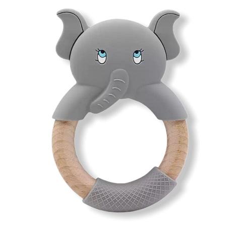 Baby Bijtring Olifant met Houten Ring