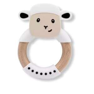 Baby bijtring schaap met houten ring