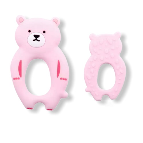 Baby bijtring siliconen beertje roze