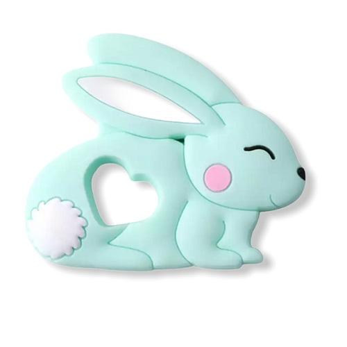 Baby bijtring siliconen konijntje mint