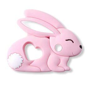 Baby bijtring siliconen konijntje roze