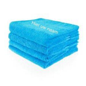 handdoek turquoise met naam